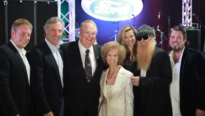"""""""Galpin 60th Anniversary (Captioned Left to Right) - Henry Ford III, Bruce Meyer, Bert Boeckmann, Jane Boeckmann, Gilligan Gibbons, Billy Gibbons, Beau Boeckmann."""