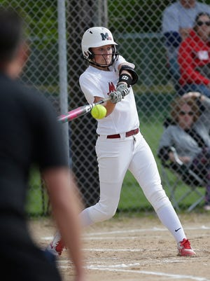 Mayville High School softball's Abby Van Beek swings at a pitch against Lomira Friday, May 18, 2018 during their game in Lomira. Doug Raflik/USA TODAY NETWORK-Wisconsin
