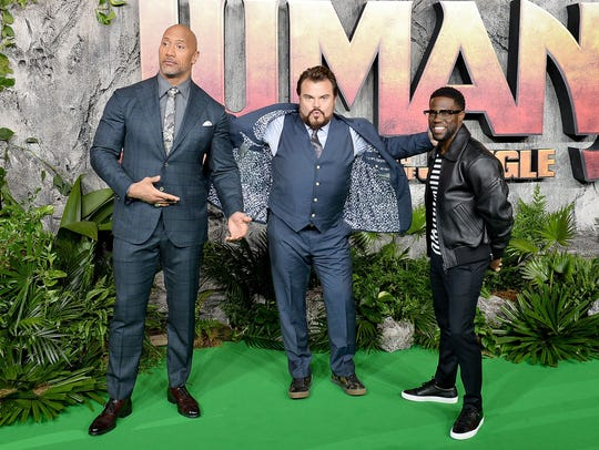 Stars Dwayne Johnson, Jack Black and Kevin Hart attend