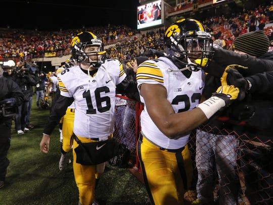 Iowa's C.J. Beathard celebrates a 28-20 win at Nebraska.