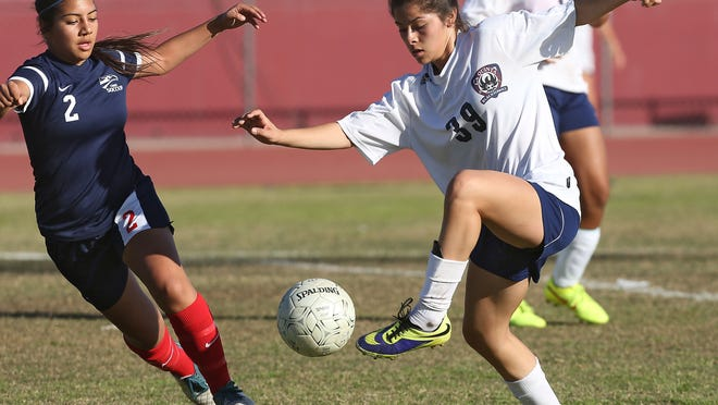 Jianna Guerrero moves past a defender on her way to scoring La Quinta's first goal during their 4-0 first round CIF playoff victory Thursday against Citrus Hill.