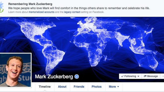 An apparent glitch at Facebook notified followers of CEO Mark Zuckerberg and other users of their death.