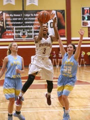 Riverdale's Anastasia Hayes (3) goes up for a shot during the Class AAA Sectional game against Cumberland County, on Saturday, March 5, 2016, at Riverdale.