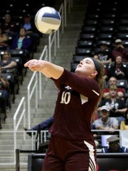 Bronte's Cassidy McWright had three service aces for the Lady Longhorns, including the one on match point that gave Bronte its sixth state title in program history.