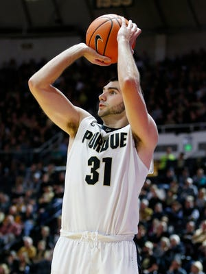 Dakota Mathias drains a 3-pointer from the corner during the second half of Purdue's 106-64 victory against Fairfield.