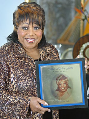 02/02/11 Denise LaSalle holds her Blues Hall of Fame award at her home in Jackson on Wednesday.