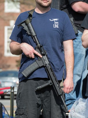 Open carry of a modern sporting rifle deemed an assault rife at the pro-Second Amendment rally outside Legislative Hall in Dover held by the Delaware Citizens for the 2nd Amendment and the Delaware 3% United Patriots.