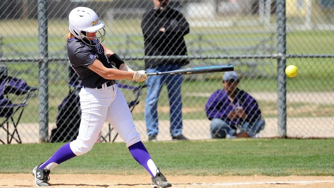 Hardin-Simmons senior Kaycee Koiner (18) gets a base-hit during the 2018 season. Koiner is one of only four players from last year's team still on the roster. The Cowgirls are preparing for their first ASC tournament in five years.