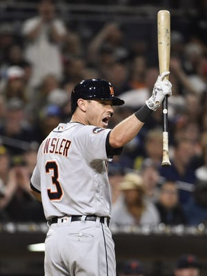 Tigers second baseman reacts to a called strike out during the eighth inning of the Tigers' 1-0 loss Friday in San Diego.