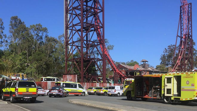 Emergency services vehicles are seen outside the Dreamworld theme park at Coomera on the Gold Coast, Queensland, Australia, Oct. 25, 2016.