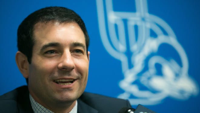 Martin Ingelsby is announced as University of Delaware's new basketball coach.