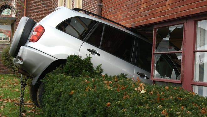 A Toyota Rav 4 crashed into the Conklin Ave First Baptist Church Sunday morning.