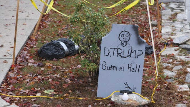A Donald Trump Halloween display on Cross Lane has created controversy in a Cortlandt neighborhood. It is seen Wednesday, Oct. 25, 2017.