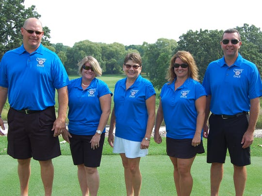 This year's Charity Open was led by, from left: Junior Co-Chairpersons Kurt Krueger  and Dr. Karen Meyer; Rita Meidam, Agnesian HealthCare Foundation executive director; and Senior Co-Chairpersons Nichi and Dr. Shayne Bauer.