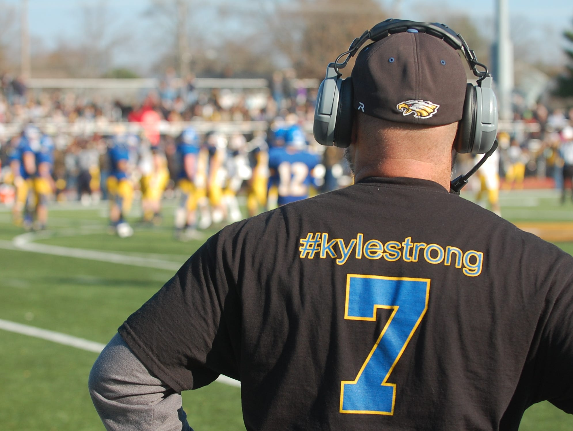 Pennsville coach Ryan Wood surveys the scene late in the fourth quarter Saturday.