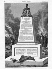 Cartoonist Thomas Nast's proposed memorial, which was published in Harper's Magazine on October 10,1868