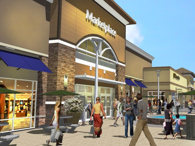 These renderings give a sense of the Asheville Outlets, which will open in spring 2015. The outlet retail center will be in the former location of Biltmore Square Mall on Brevard Road. Images are courtesy of New England Development Company.