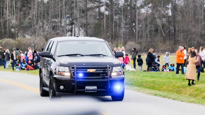 Police respond to a bomb threat at Ocean City Elementary School in Ocean City, Maryland, on Jan. 15. Schools across the country have been the victims of phone threats.