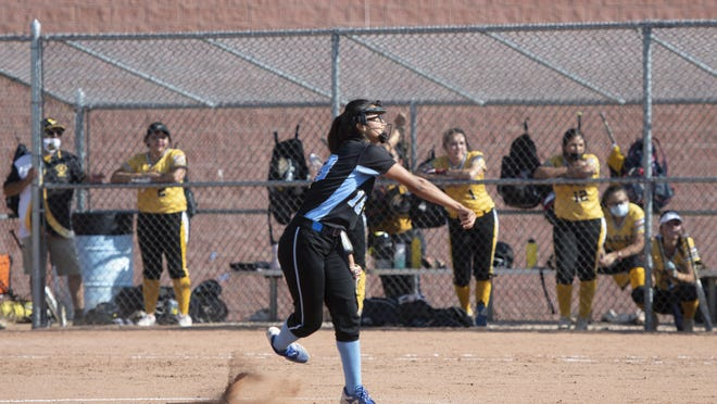 Pueblo West junior Jen Keck throws a pitch during the Cyclones' 8-1 win over East on Tuesday at Pueblo West.