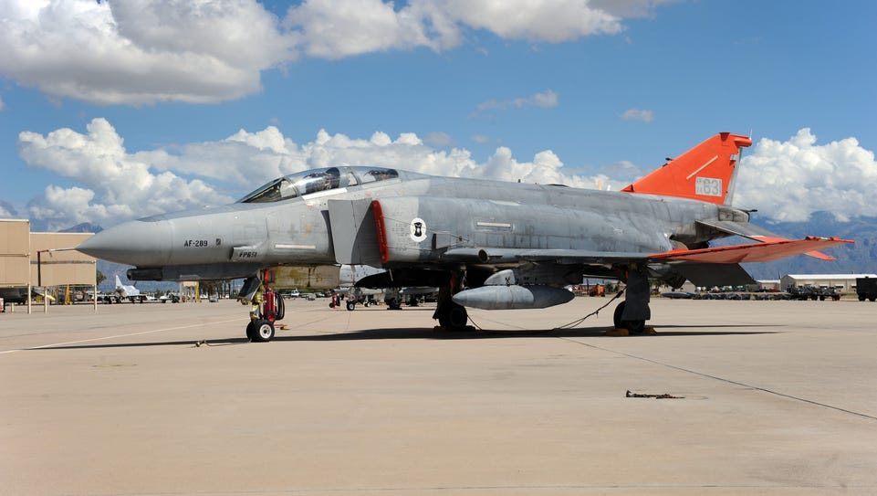 A QF-4 Drone sits on the flightline at Davis-Monthan
