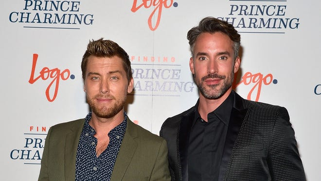 "TV personalities Lance Bass (L) and Robert Sepulveda Jr. attend Logo's ""Finding Prince Charming"" Premiere Screening And Reception at HYDE Sunset: Kitchen + Cocktails on September 7, 2016 in West Hollywood, California."