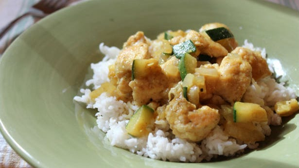 Chicken curry and rice.