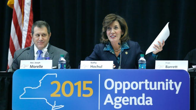 Assembly Majority Leader Joseph Morelle and Lt. Gov. Kathy Hochul at a public forum on poverty issues in Rochester March 5 at the Rochester Educational Opportunity Center.