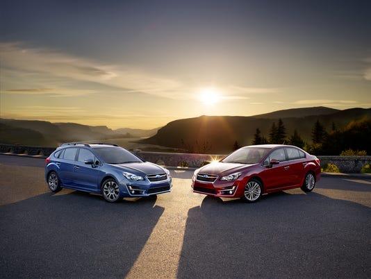 Four door and five door versions of the Subaru Impreza