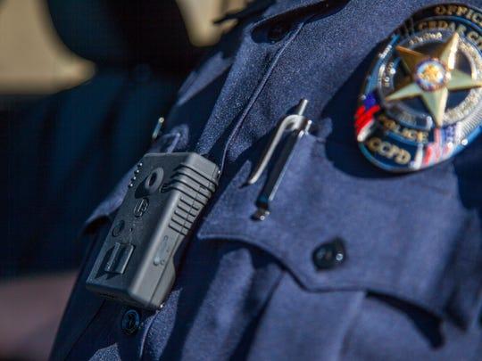 A Cedar City police officer wears a body camera, Feb. 10, 2016.