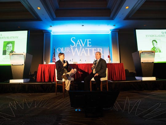 The News-Press environmental reporter, Chad Gillis interviews Ernie Barnett, Executive Director of the Florida Land Council during the Save our Water Summit at Sanibel Harbour Marriot Resort & Spa on Wednesday.