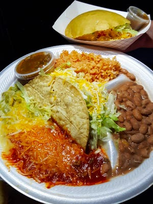 The combination plate ($8.50) from La Ristra Express comes with a crunchy taco, enchilada, a jumbo gordita and a side of beans and rice.
