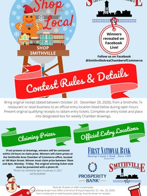 The Smithville Chamber of Commerce is having weekly drawings for prizes. To enter, bring a receipt dated from Oct. 25 to Dec. 20 reflecting a minimum $10 purchase to designated giveaway entry locations: Smithville Chamber of Commerce, First National Bank and Prosperity Bank.