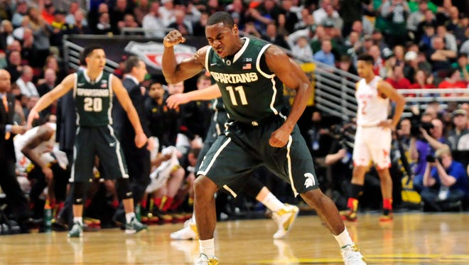 Michigan State guard Lourawls Nairn Jr. reacts against the Maryland Terrapins at United Center.