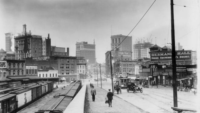 The Odd Fellows Building, right, in 1914, when it dominated Indy's skyline.