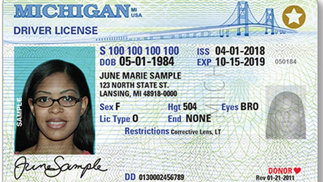 This image provided by the Michigan Secretary of State's office shows a sample of a limited term driver's license. Republican state lawmakers in Michigan didn't try to mandate labeling the driver's licenses of immigrants with yellow stars, contrary to a claim in a story circulating on several liberal-leaning sites.