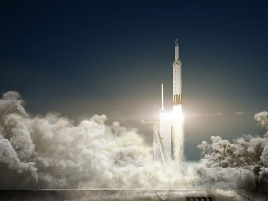 Concept image of a SpaceX Falcon Heavy rocket and Dragon