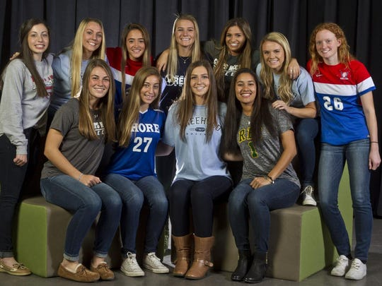 The 2015 All-Shore Girls Soccer team of (front row) Amanda Visco, Devon McDonough, Caleigh Farrell and Jackie Robinson; (back row) Arianna Ferraro, Lacey Powell, Amy Paternoster, Rebecca Hamilton, Bridgette King, Nicole Whitley and Jessie Maywalt. Not pictured is Frankie Tagliaferri and Gabby Bair.