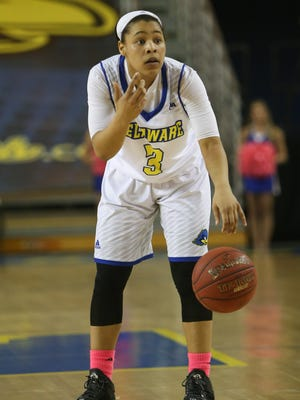 Delaware guard Erika Brown organizes the offense in the fourth quarter of a game against the College of Charleston.