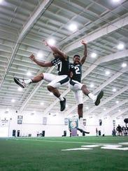 MSU cornerbacks Josiah Scott, left, and Justin Layne