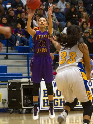 Kirtland Central's Talia Ockerman shoots a 3-pointer against Bloomfield on Tuesday at Bobcat Gym in Bloomfield.
