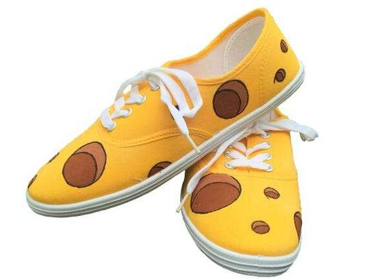 Cheesehead shoes from ButterMakesMeHappy on Etsy.