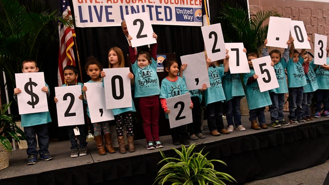 Children from Day Nursery of Abilene each hold a card that together shows how much money United Way of Abilene raised last year, over $2.02 million. The nonprofit's annual meeting was Tuesday at the Abilene Convention Center.