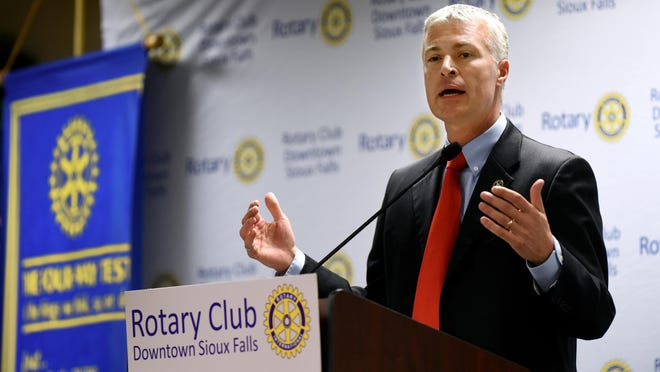 South Dakota Attorney General Marty Jackley discusses Marsy's Law and Initiated Measure 22 during the Sioux Falls Downtown Rotary on Monday at the Holiday Inn City Centre in downtown Sioux Falls.