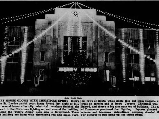 1948 Community Christmas Tree for celebration on courthouse Square, before the Nativity Scene