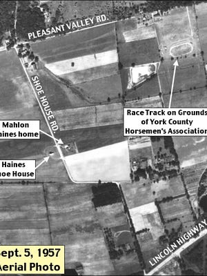 New show grounds of the York County Horsemen's Association were dedicated in 1955 near the Haines Shoe House, by hosting the Annual York Horse Show on July 4th. (Sept. 5, 1957 PennPilot Historic Aerial Photo shows the Race Track on the 12-acre grounds; Annotated by S. H. Smith, 2019)