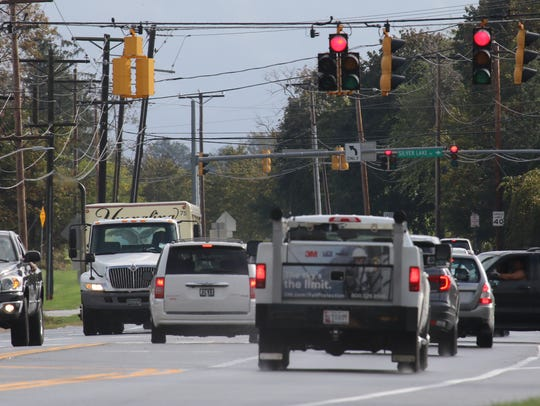 Traffic lines up along Del. 299 from Catherine Street to Del. 1 in Middletown where plans are in the works to widen the congested roadway.