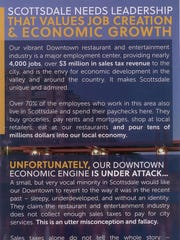 The back of a political mailer that is under investigation by Scottsdale in a possible campaign-finance complaint.