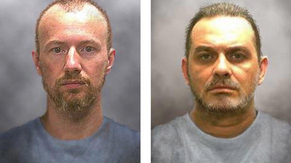 A file New York State Police handout composite image released 17 June 2015 showing possible appearance changes in convicted murderers David Sweat (L) and Richard Matt (R) who escaped from the maximum security Clinton Correctional Facility in Dannemora, New York