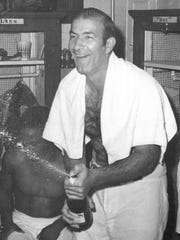 """Joe Altobelli celebrates the 1971 Little World Series championship as a rookie Class AAA manager of Rochester Red Wings. Alto gave inspiration to Ron Shelton's character Crash Davis in the 1988 classic film """"Bull Durham."""""""