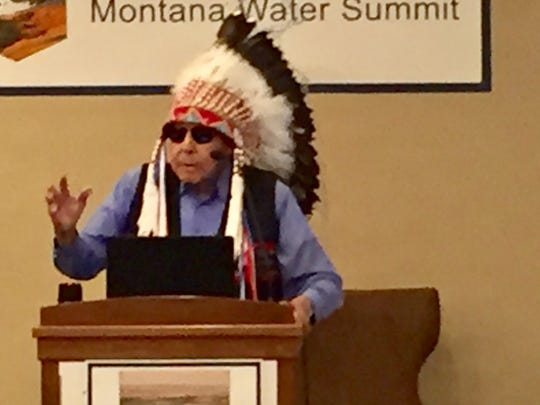Chief Earl Old Person addresses the Montana Water Summit on Tuesday in Helena,.